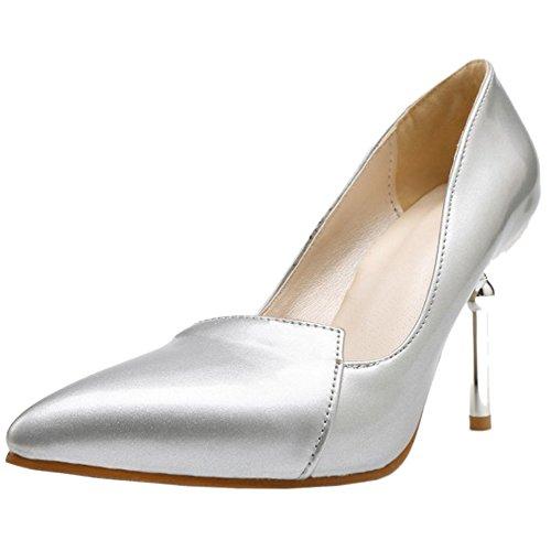 TAOFFEN Damen Closed Toe Pumps Slip On Thin High Heel Wedding Schuhe Silber