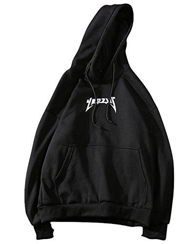 JOLIME Herren Essentials Kapuzenpullover Hoodie Sweatshirt Fleece Pullover mit Aufdruck Schwarz EU S=Etikett L