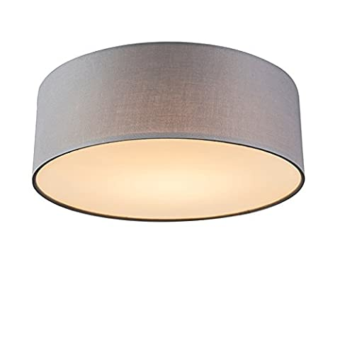 QAZQA Modern Deckenleuchte / Deckenlampe / Lampe / Leuchte Drum mit Schirm LED 30 grau / Innenbeleuchtung / Wohnzimmer / Schlafzimmer / Küche Metall / Textil / Rund inklusive LED (austauschbare) LED Max. 1 x 10
