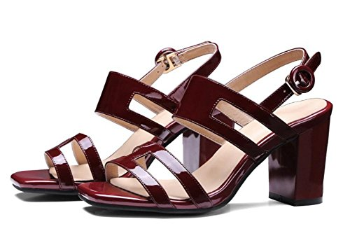 Sommer-Open-toed Schuhe mit hohen Absätzen mit dicken Sandalen wine red