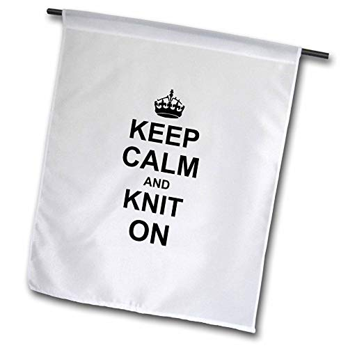 3dRose FL_157736_1 Keep Calm and Knit on Carry On Strick-Strick-Strickset, lustig, lustig, lustig, lustig, humorvolle Gartenflagge, 30,5 x 45,7 cm