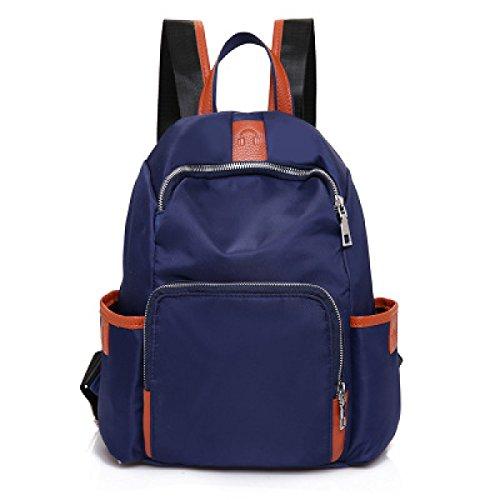 Sacchetto Impermeabile Delle Signore Impermeabili Del Sacchetto Dello Studente Dello Zaino Di Viaggio Del Sacchetto Di Spalla Delle Donne Puro Di Colore (3 Colori),Blue-27*13*34cm Blue