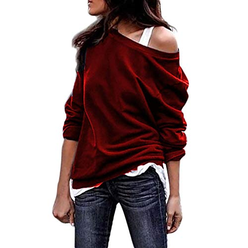 Lonshell Femme Sweatshirt imprimées Sweatshirt Pull Tops Blouse Shirt (Medium, F2-Vin Rouge)