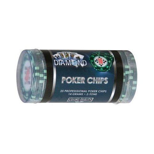Cartamundi Poker Chips Tubetto 25 Fiches da Poker, Gioco di Società, Valore 10