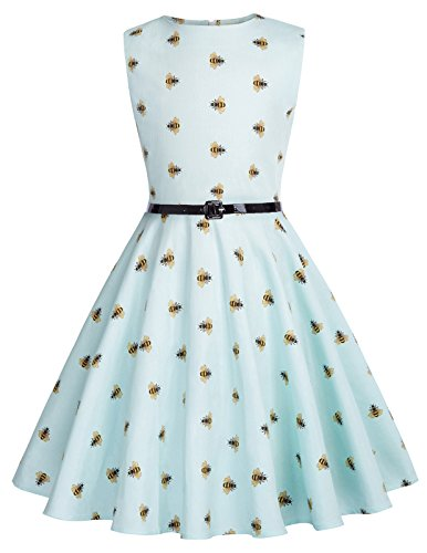 Fille Robe de Rockabilly Longue Abeille Pattern Robe de...