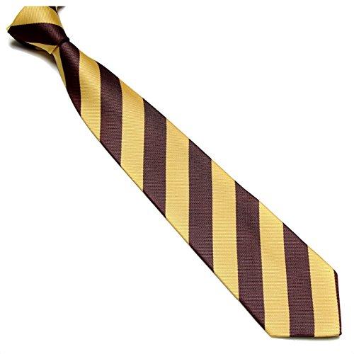 Schmale Krawatte 7cm Streifen College Design Gelb Braun gestreift - Binder Gewebte Microfaser Seiden-Optik - Herrenkrawatte z Anzug - Herren Schlips (Krawatte Cambridge Seide Gewebte)