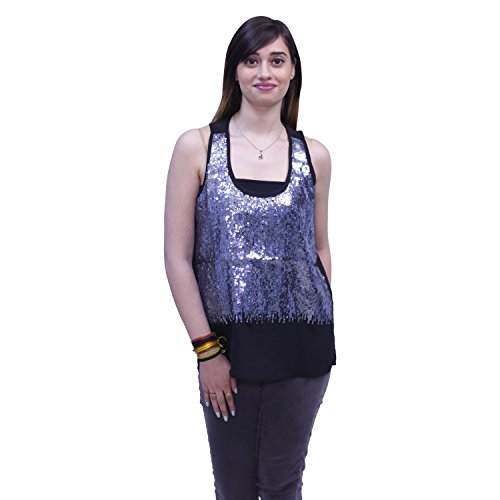 Mechant Fashions Sequence Top, Round Neck For Women (Medium, Black)