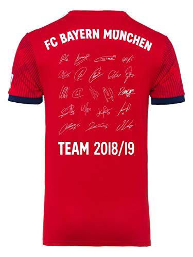 FC Bayern München Trikot Home, Unterschriften der gesamten Mannschaft als Flock, Jersey 18/19 Größe S