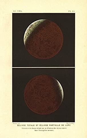 LUNAR ECLIPSE. Total & partial eclipse of the Moon. Colour lithograph - 1877 - old antique vintage print - art picture prints of Astronomy
