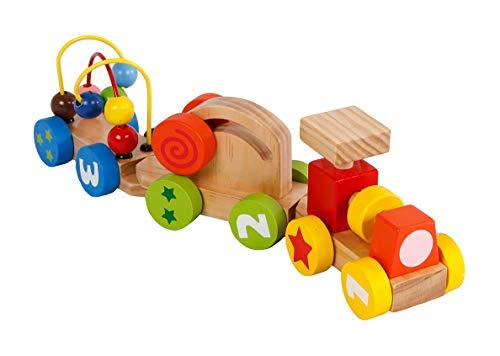 2-Play Wood Lernspielzug mit einer Lok und zwei Wagons (Zug mit 2 Aktivitätswagen bunt, Hochwertiges Holzspielzeug, Lernspielzeug), mehrfarbig - 610191