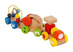 Van Manen 2de Play Wood para el Aprendizaje Tren con una Locomotora y Dos vagones (con tracción 2Actividad Carro Juguete de Madera, Juguete para el Aprendizaje), 610191