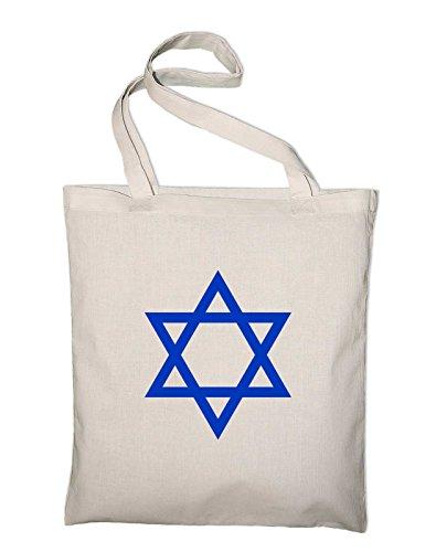 Davidstern Israel Jutebeutel, Beutel, Stoffbeutel, Baumwolltasche, natur Natur