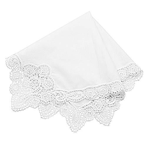 Milesky Damen Taschentuch mit Häkelspitze Weiß 100% Baumwolle Größe 30x30cm (CH06B)
