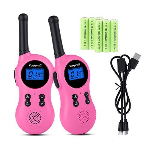 Funkprofi 2X Walkie Talkies für Kinder, T-799 Walkie Talkie Set Funkgeräte Kids mit Wiederaufladbaren Akkus Funk Handy VOX 8 Kanal 3 KM Reichweite Typ C Buchse Geschenk Spielzeug (Pink)