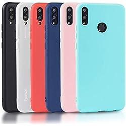 Wanxideng 6 x Coque Honor 8X, Housse Souple en TPU Silicone - Soft Silicone Case Cover [ Noir + Rouge + Bleu Foncé + Rose + Vert Menthe + Translucide ]