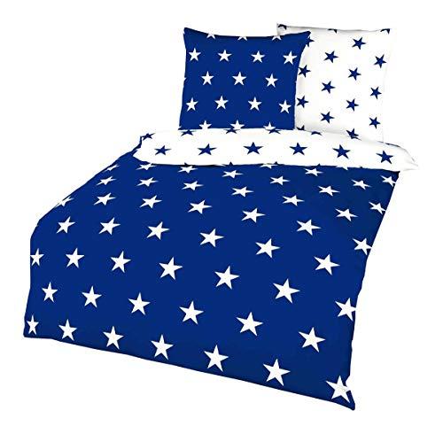Kaeppel Biber Stern Wende Bettwäsche Sterne Stars Blau Weiß Baumwolle, Größe:135x200cm Bettwäsche