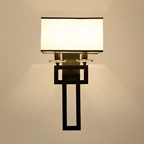 Chinesische Retro-Wandleuchte Nachttisch-Wandleuchte Wohnzimmer Wandleuchte Hotel Wandleuchte Tuch Lampenschirm E14 Lichtquelle