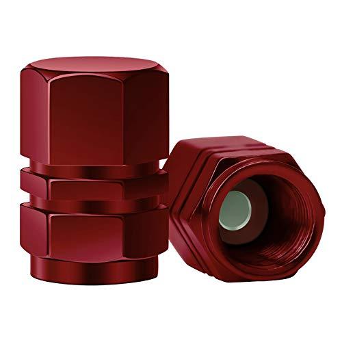 SAVITA 8 Stück Aluminium-Ventilkappen Reifenventil-Staubkappen mit Dichtung Universal Sechskant Ersatz für Autos, SUV, Fahrrad, LKW, Motorräder   Robustes, luftdicht   Anschrauben, Easy-Grip (Rot) -