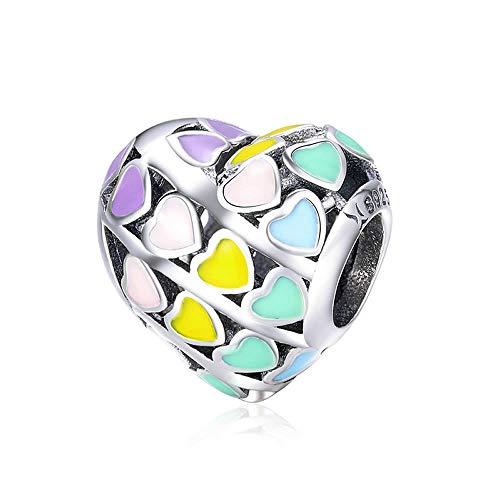 Colgante de corazón multicolor romántico de plata de ley 925, diseño de corazón arcoíris, esmalte de color, compatible con pulseras originales, bisutería