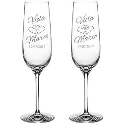 2 Copas de champán con grabado - [Motivo CORAZONES] - Personalizado con nombres y fecha