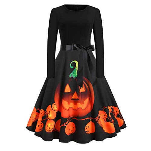 BIKETAFUWY Halloween Kostüm Damen kürbis Vintage A-Linie Elegant Lange Ärmel Kürbis Printed Skater Kleider Halloween Kostüm Cocktailkleid Party Kleid Swing Blumenkleid Partykleid