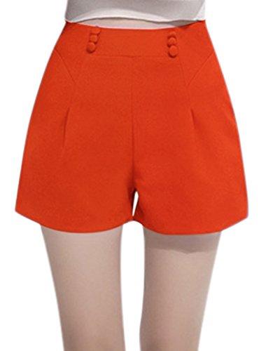 sourcingmap Femme Taille Haute Braguette Zip Bouton Modèle Jambes Larges Short Orange