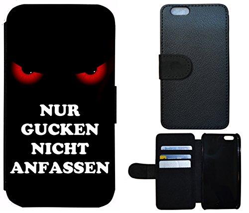 Schutz Hülle Flip Cover Handy Tasche Etui Case für (Apple iPhone 6 / 6s, 2011 Meins Finger Weg Rot Schwarz) 2014 Nur Gucken nicht anfassen Rot Schwarz