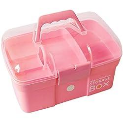Maissine Boîte de Médecine, Boîte de Premiers Secours Portables, Mallette médicale avec Compartiment et Poignée de Transport pour la Maison, 31,5 × 21 × 19,5cm (Rose)