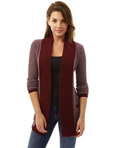 PattyBoutik Damen offene Strickjacke mit langen Ärmeln und Taschen. (burgund und weiß 44/L) (Burgund Strickjacke)