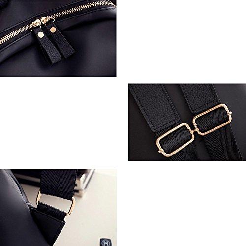 MSXUAN Neu Mode Nylon Rucksack Freizeit Oxford Tuch Schultertasche Damen L008DE-Schwarz