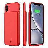 HiKiNS Cover Batteria per iPhone XS Max, 5000 mAh Caricabatterie Ultra Sottile Power Case Ricaricabile Custodia Batteria Portatile Backup per iPhone XS Max - Red