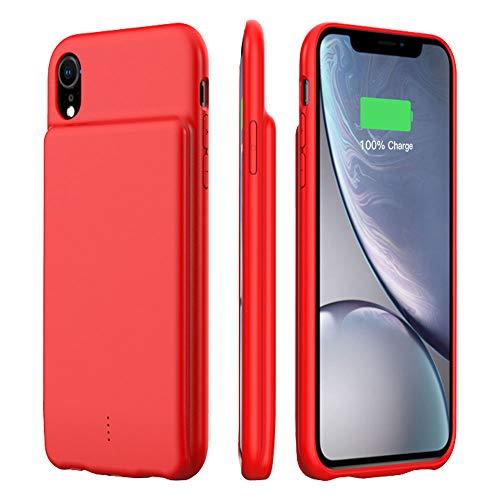 HiKiNS Akku Hülle für iPhone XS Max, 5000mAh Tragbare Ladebatterie Zusatzakku Externe Handyhülle Batterie Wiederaufladbare Schutzhülle Power Bank Akku Case für iPhone XS Max - Rot (Iphone 4 Akku-case Rot)
