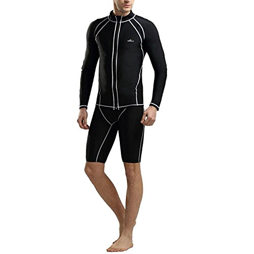 Zhuhaitf Mens Sun Protection Swimwear Long Sleeve T-shirts Tops Swimming Surfing Diving Swimsuits Black