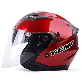 YEMA Halber Helm Vier Jahreszeiten MäNner Und Frauen Schutzhelm Anti-Beschlag Doppelte Linse Motorradhelm Futter Waschbar Fahrradhelm,Red-L(58-60cm)