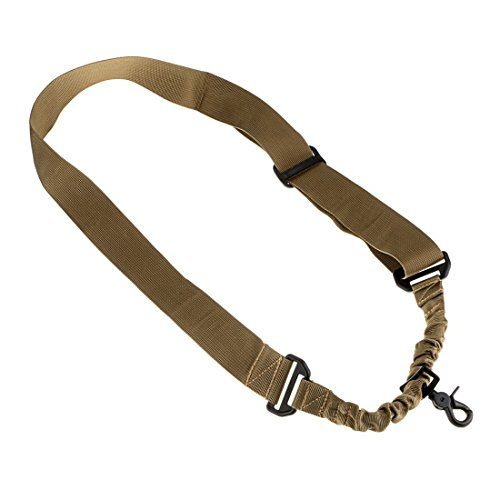 fuwok Tactical One Single Point Adjustable Bungee Rifle Gun Sling Strap System Tactical zsgs05, khaki (Khaki Sling)
