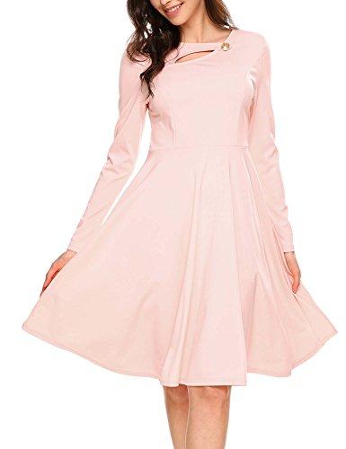 Modfine Damen 1950er Kleid Vintage Rockabilly Kleid Cocktailkleid Abendkleid Partykleid Langarm...