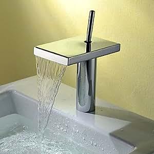 Armaturen für Waschbecken - Zeitgenössisch - Wasserfall Chrom )