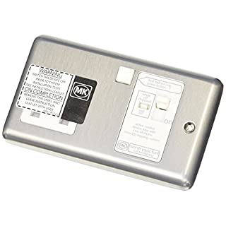 MK K6301BRC 13A 30MA Single RCD Socket Active - Brushed Chrome