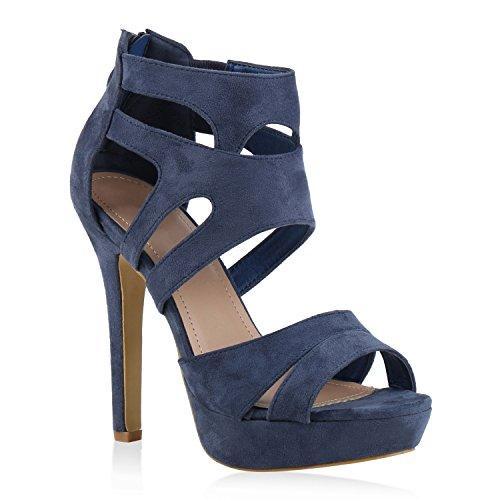 Damen Sandaletten Plateau Sandaletten Strass Stiletto Cut-Outs Party High Heels Lack Party leder-Optik Schuhe 144500 Blau 39 | Flandell®