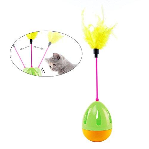 UKCOCO Tumbler Kitten Toy Ball mit Federn interaktive Katze Spielzeug unterhaltsame lustige Spielzeug Ball (grün) -