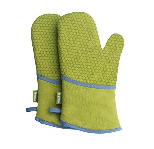 Küche Honeycomb Silikon Kochen Handschuhe Set, baumwolle, Honeycomb_1 Pair_Green, Large -