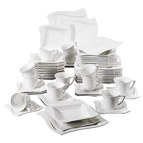 MALACASA, Serie Amparo, 60 TLG. Cremeweiß Porzellan Geschirrset Tafelservice mit Kaffeeservice, Dessertteller, Suppenteller und Flachteller für 12 Personen