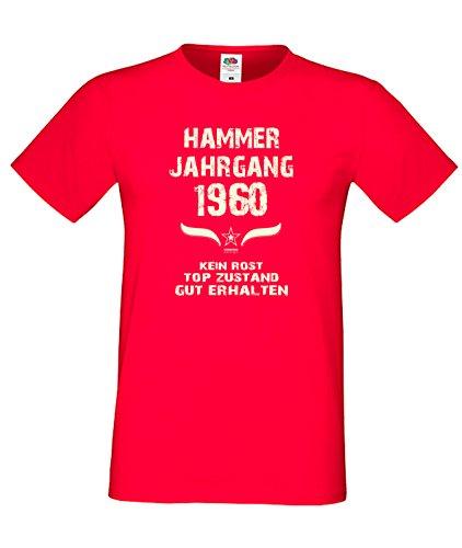 Sprüche Fun T-Shirt Jubiläums-Geschenk zum 57. Geburtstag Hammer Jahrgang 1960 Farbe: schwarz blau rot grün braun auch in Übergrößen 3XL, 4XL, 5XL rot-01