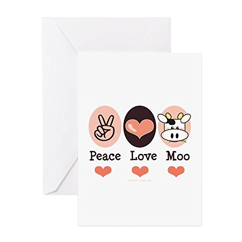 CafePress-Peace Love Moo Kuh-Grußkarte, Note Karte, Geburtstagskarte, innen blanko, matt - Kuh Grußkarten