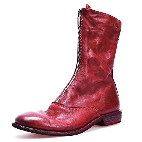 Damen Lassig Leder PU Stiefeletten Damen Reißverschluss Blockabsatz Niedrige Ferse Martin Stiefel,Red-EU:39=8.5B(M) US (Bein-boot Block-ferse,)