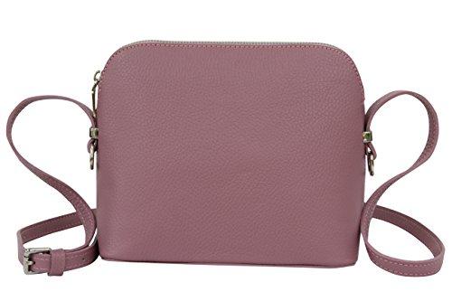 AMBRA Moda Italienische Ledertasche Damen Handtasche Umhängetasche Schultertasche Leder Tasche klein GL018 (Altrosa)