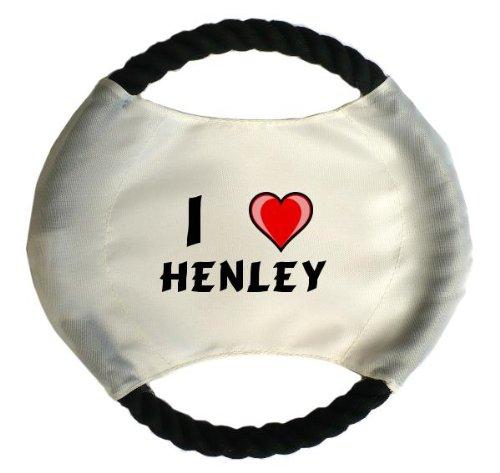 Personalisierter Hundefrisbee mit Aufschrift Ich liebe Henley (Vorname/Zuname/Spitzname) (Henley Tier)