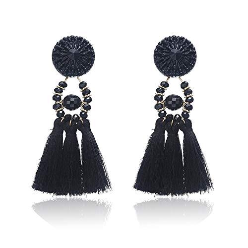 26 Stil Quaste Ohrringe böhmischen Fransen Erklärung ethnischen lange Tropfen baumeln Ohrringe weiblichen Schmuck, Modell 2-schwarz
