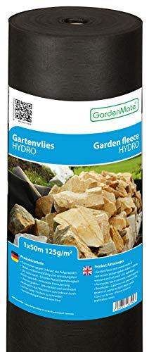 GardenMate 1mx50m Rolle 125g/m² Hydro Premium Gartenvlies mit sehr hoher Wasserdurchlässigkeit - Unkrautvlies Extrem Reißfestes Unkrautschutzvlies - Hohe UV-Stabilisierung - 1mx50m=50m²