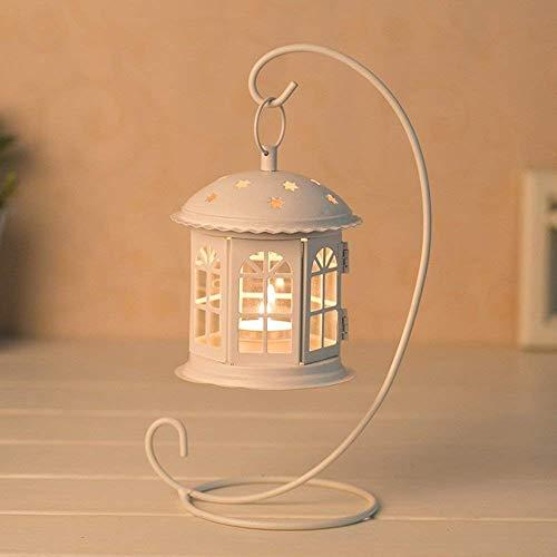 XQY Retro Candlestick Dekoration Kerzenhalter Eisen Kunst Glas Abdeckung Suspension Winddicht Haushaltsgegenstände Zwei Farbe Optional,Weiß